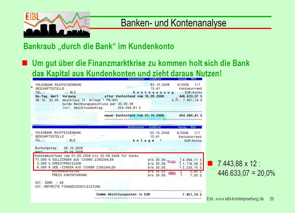 29© Hans Peter Eibl, www.eibl-kontenpruefung.de Banken- und Kontenanalyse Bankraub durch die Bank im Kundenkonto 7.443,88 x 12 : 446.633,07 = 20,0% Um