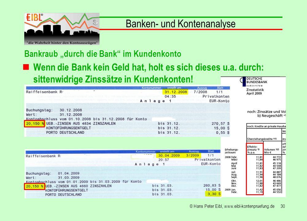 30© Hans Peter Eibl, www.eibl-kontenpruefung.de Banken- und Kontenanalyse Bankraub durch die Bank im Kundenkonto Wenn die Bank kein Geld hat, holt es
