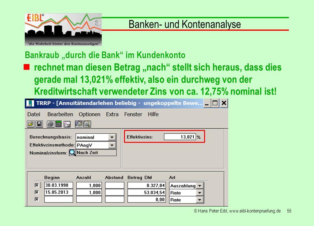 55© Hans Peter Eibl, www.eibl-kontenpruefung.de Banken- und Kontenanalyse Bankraub durch die Bank im Kundenkonto rechnet man diesen Betrag nach stellt