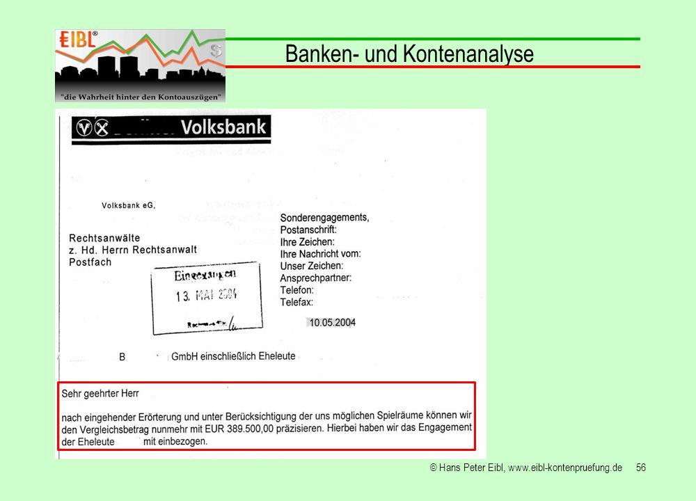 56© Hans Peter Eibl, www.eibl-kontenpruefung.de Banken- und Kontenanalyse