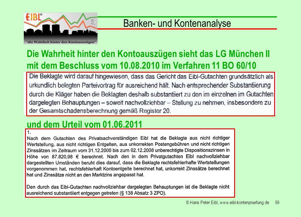 59© Hans Peter Eibl, www.eibl-kontenpruefung.de Banken- und Kontenanalyse Die Wahrheit hinter den Kontoauszügen sieht das LG München II mit dem Beschl