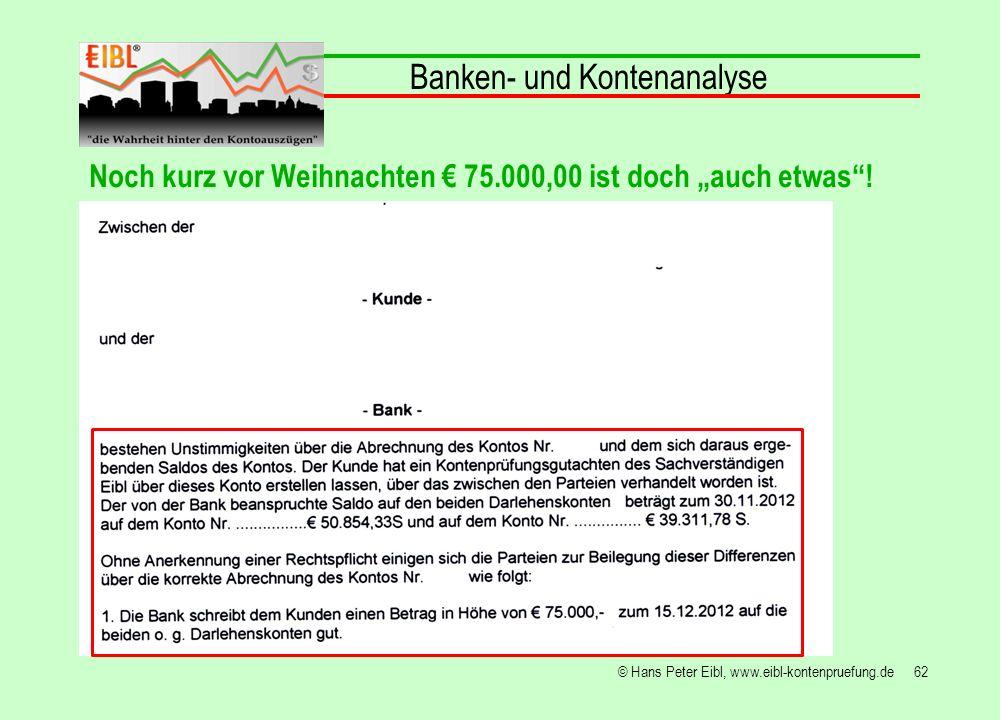 62© Hans Peter Eibl, www.eibl-kontenpruefung.de Banken- und Kontenanalyse Noch kurz vor Weihnachten 75.000,00 ist doch auch etwas!
