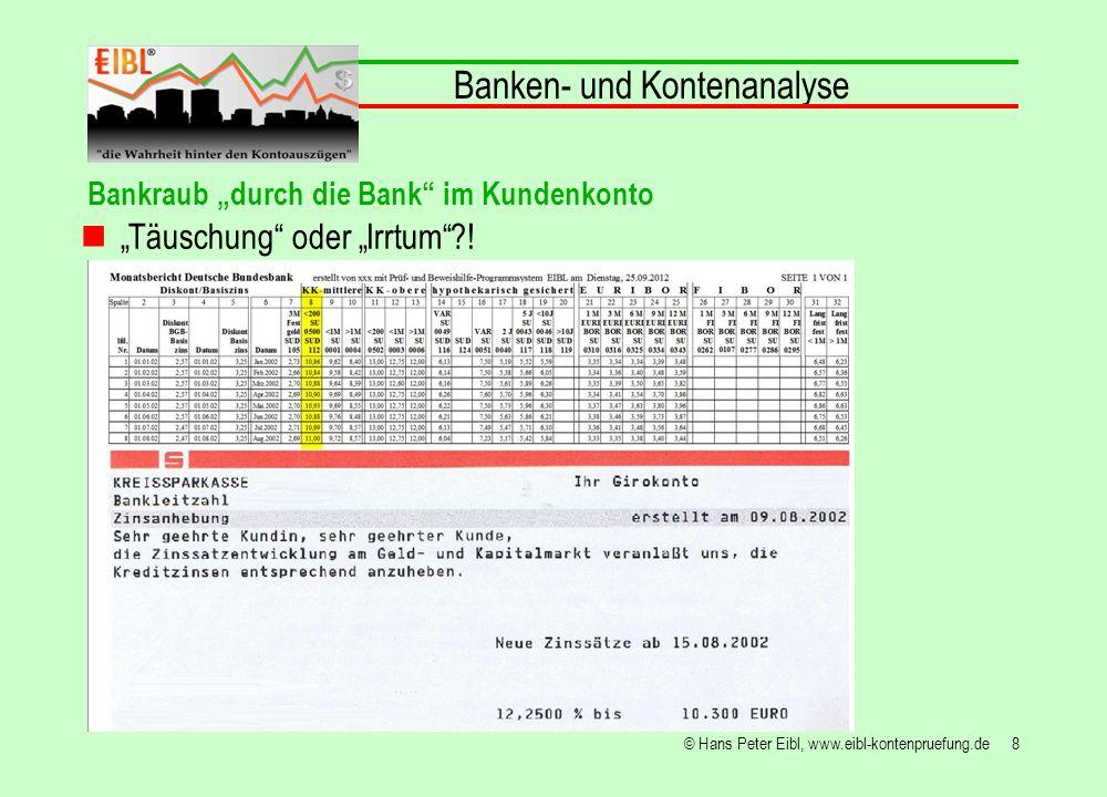 29© Hans Peter Eibl, www.eibl-kontenpruefung.de Banken- und Kontenanalyse Bankraub durch die Bank im Kundenkonto 7.443,88 x 12 : 446.633,07 = 20,0% Um gut über die Finanzmarktkrise zu kommen holt sich die Bank das Kapital aus Kundenkonten und zieht daraus Nutzen!