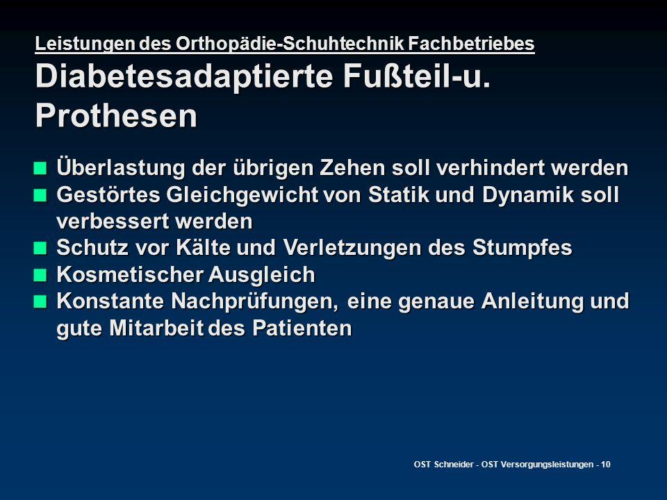 OST Schneider - OST Versorgungsleistungen - 10 Leistungen des Orthopädie-Schuhtechnik Fachbetriebes Diabetesadaptierte Fußteil-u. Prothesen Überlastun