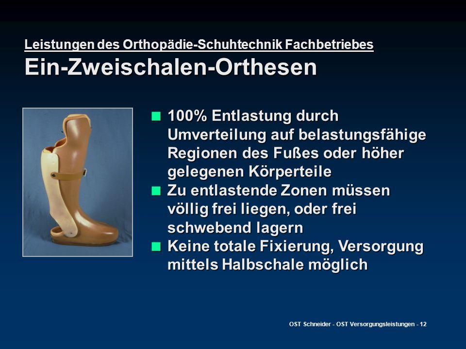 OST Schneider - OST Versorgungsleistungen - 12 Leistungen des Orthopädie-Schuhtechnik Fachbetriebes Ein-Zweischalen-Orthesen 100% Entlastung durch Umv