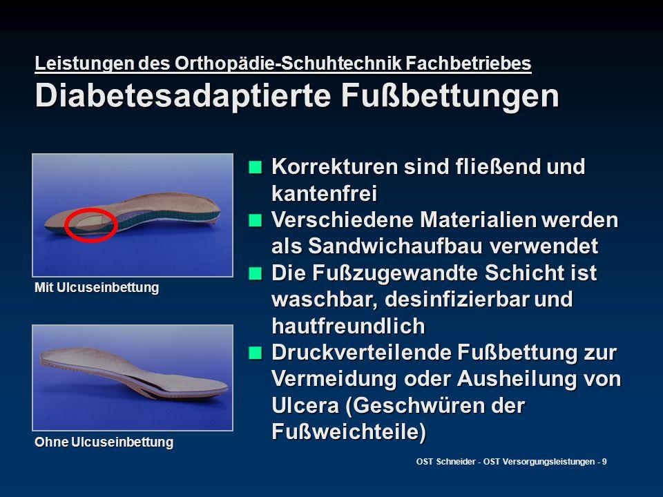 OST Schneider - OST Versorgungsleistungen - 9 Leistungen des Orthopädie-Schuhtechnik Fachbetriebes Diabetesadaptierte Fußbettungen Korrekturen sind fl
