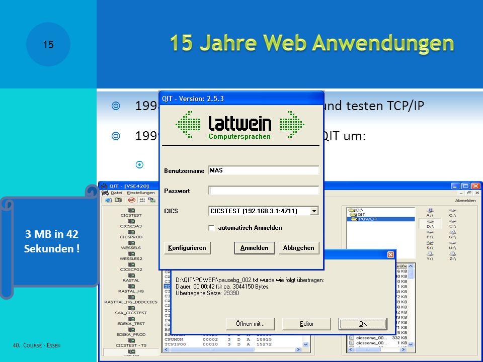 1998 Erste Kunden installieren und testen TCP/IP 1999: Lattwein stellt QWS auf QIT um: QIT := QWS + TCP/IP 40.