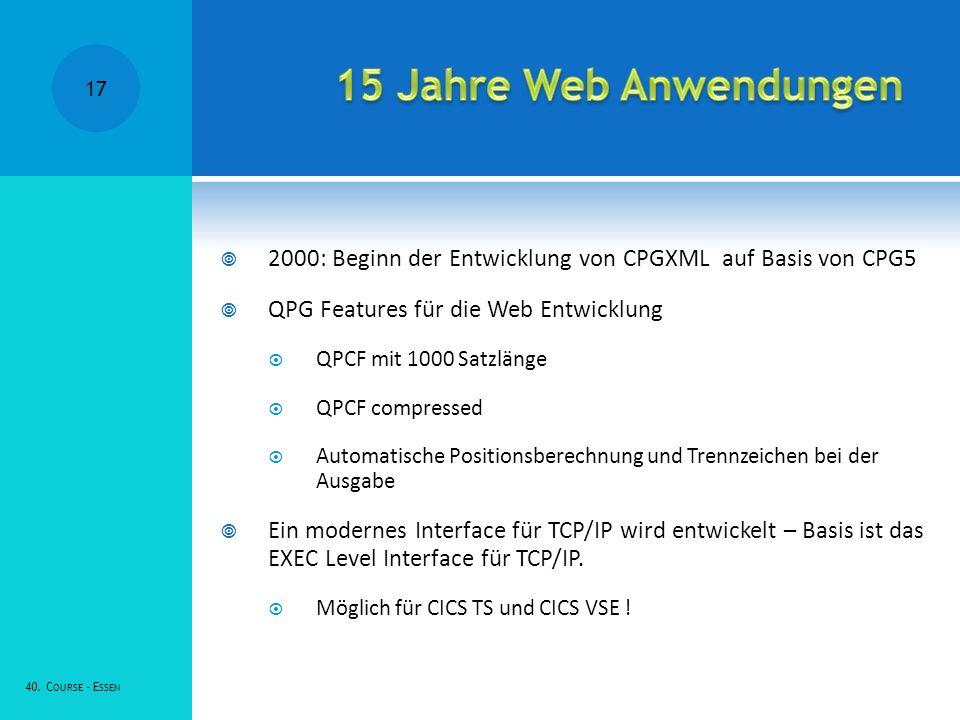 2000: Beginn der Entwicklung von CPGXML auf Basis von CPG5 QPG Features für die Web Entwicklung QPCF mit 1000 Satzlänge QPCF compressed Automatische Positionsberechnung und Trennzeichen bei der Ausgabe Ein modernes Interface für TCP/IP wird entwickelt – Basis ist das EXEC Level Interface für TCP/IP.