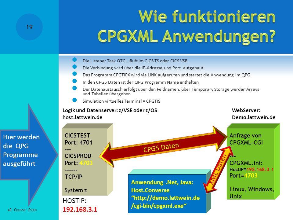 Die Listener Task QTCL läuft im CICS TS oder CICS VSE. Die Verbindung wird über die IP-Adresse und Port aufgebaut. Das Programm CPGTIPX wird via LINK