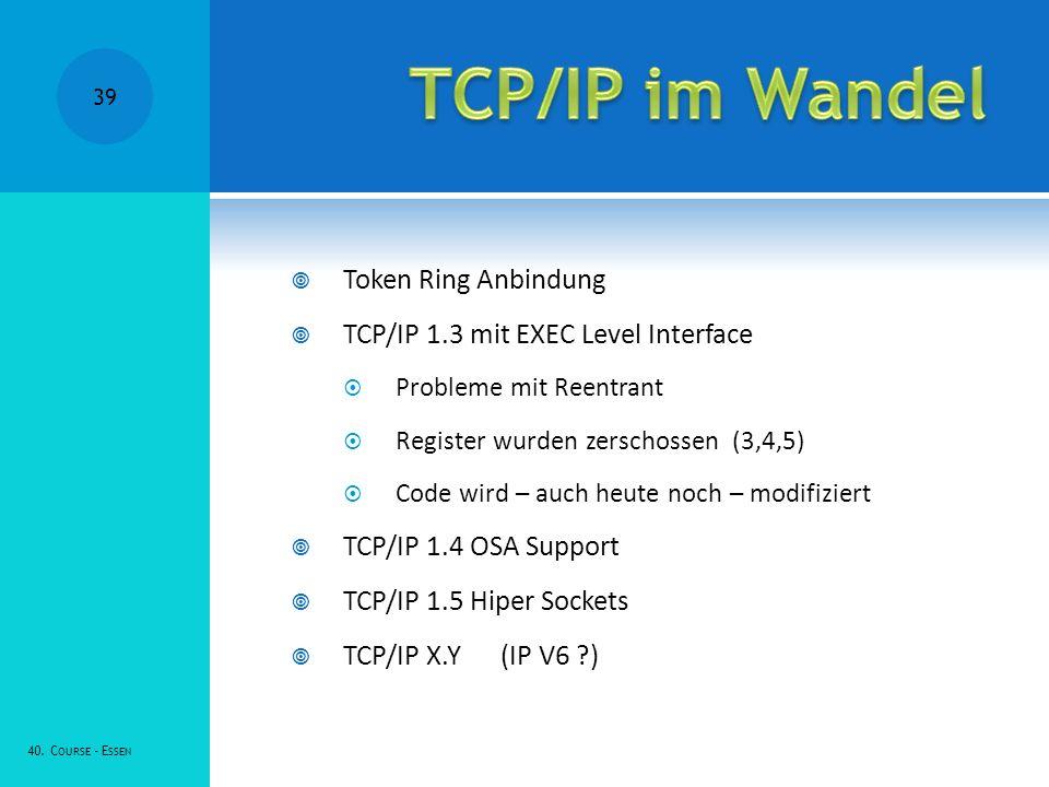 Token Ring Anbindung TCP/IP 1.3 mit EXEC Level Interface Probleme mit Reentrant Register wurden zerschossen (3,4,5) Code wird – auch heute noch – modifiziert TCP/IP 1.4 OSA Support TCP/IP 1.5 Hiper Sockets TCP/IP X.Y(IP V6 ?) 40.