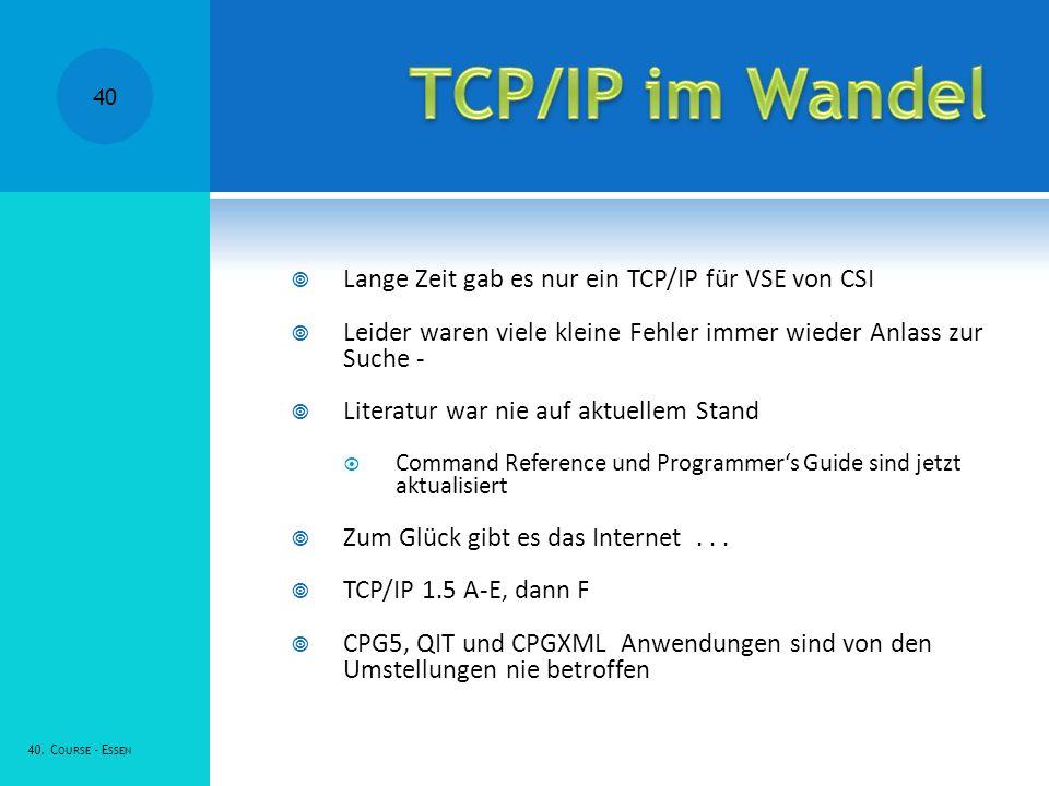Lange Zeit gab es nur ein TCP/IP für VSE von CSI Leider waren viele kleine Fehler immer wieder Anlass zur Suche - Literatur war nie auf aktuellem Stand Command Reference und Programmers Guide sind jetzt aktualisiert Zum Glück gibt es das Internet...