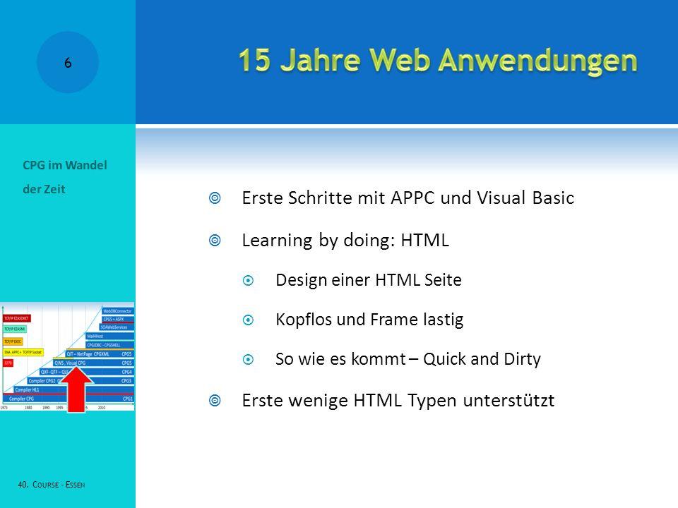 Erste Schritte mit APPC und Visual Basic Learning by doing: HTML Design einer HTML Seite Kopflos und Frame lastig So wie es kommt – Quick and Dirty Erste wenige HTML Typen unterstützt CPG im Wandel der Zeit 40.