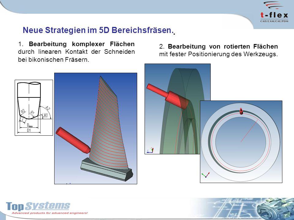 Neue Strategien im 5D Bereichsfräsen. 1. Bearbeitung komplexer Flächen durch linearen Kontakt der Schneiden bei bikonischen Fräsern. 2. Bearbeitung vo