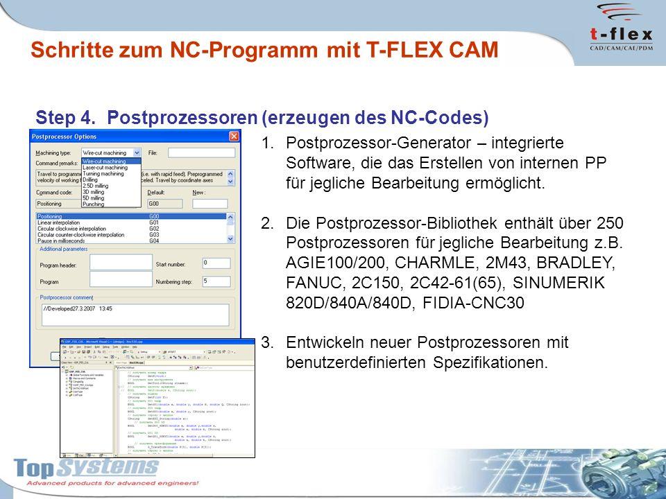 Step 4. Postprozessoren (erzeugen des NC-Codes) 1.Postprozessor-Generator – integrierte Software, die das Erstellen von internen PP für jegliche Bearb
