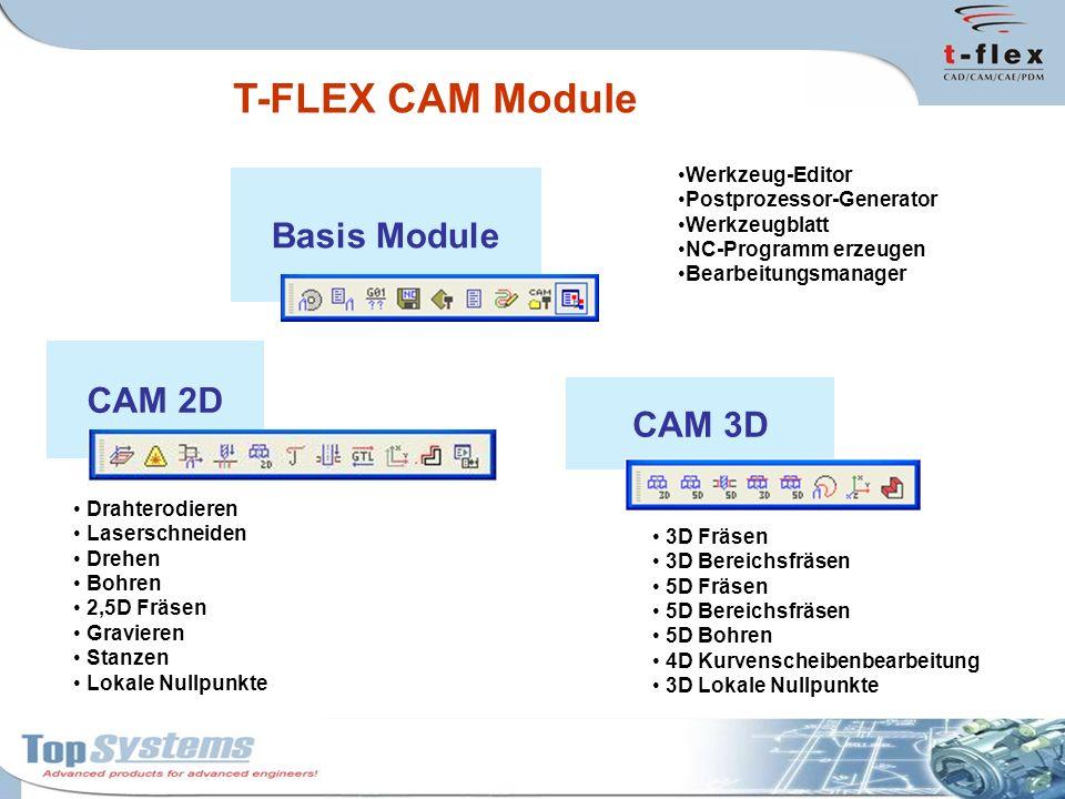 CAM 3D T-FLEX CAM Module Basis Module Werkzeug-Editor Postprozessor-Generator Werkzeugblatt NC-Programm erzeugen Bearbeitungsmanager CAM 2D Drahterodi