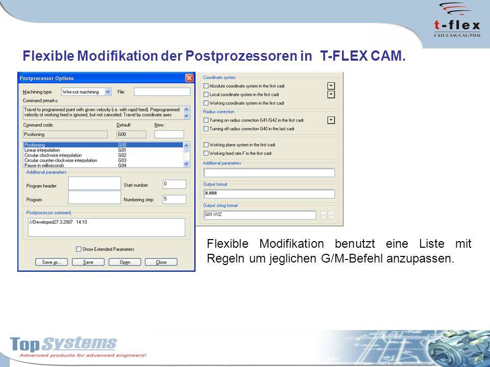 Flexible Modifikation der Postprozessoren in T-FLEX CAM. Flexible Modifikation benutzt eine Liste mit Regeln um jeglichen G/M-Befehl anzupassen.