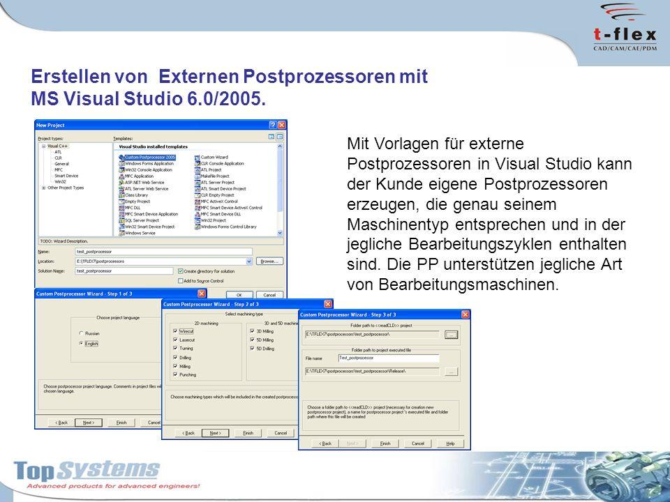 Erstellen von Externen Postprozessoren mit MS Visual Studio 6.0/2005. Mit Vorlagen für externe Postprozessoren in Visual Studio kann der Kunde eigene