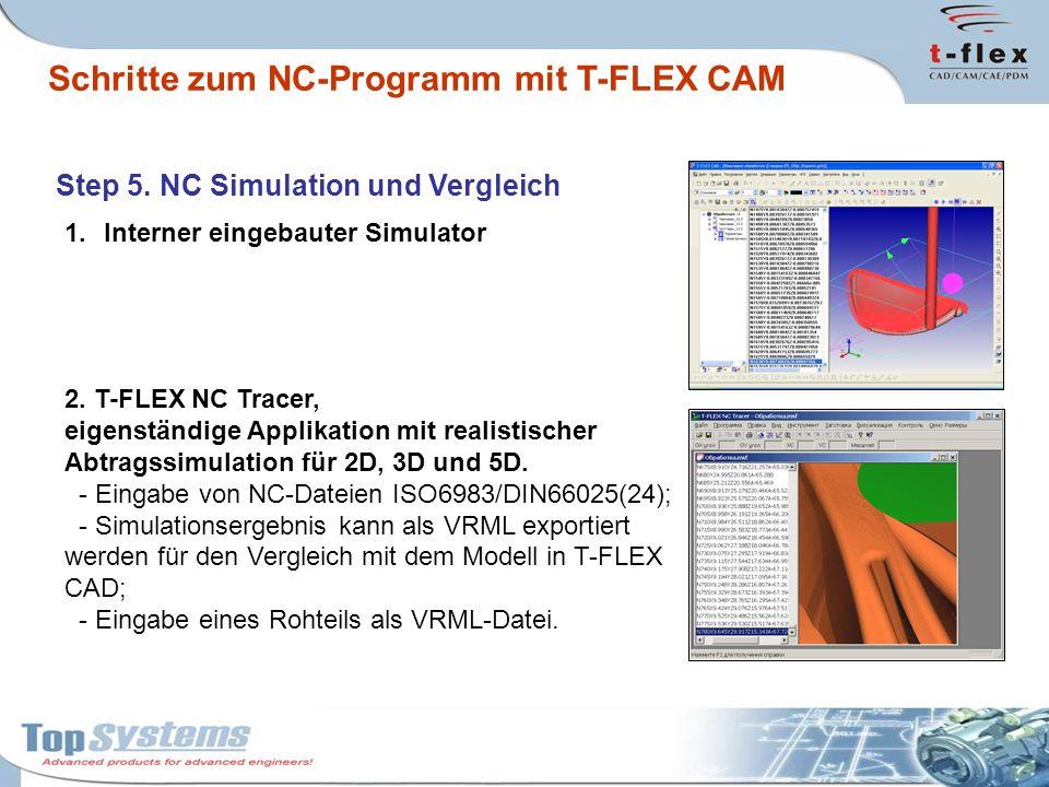 Step 5. NC Simulation und Vergleich 1.Interner eingebauter Simulator 2. T-FLEX NC Tracer, eigenständige Applikation mit realistischer Abtragssimulatio