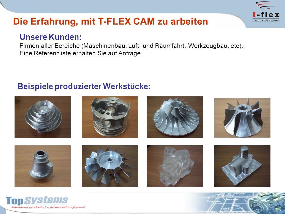 Die Erfahrung, mit T-FLEX CAM zu arbeiten Unsere Kunden: Firmen aller Bereiche (Maschinenbau, Luft- und Raumfahrt, Werkzeugbau, etc). Eine Referenzlis