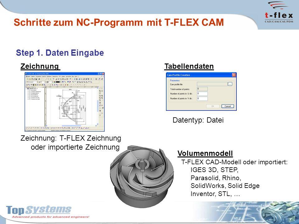 Step 1. Daten Eingabe Zeichnung Zeichnung: T-FLEX Zeichnung oder importierte Zeichnung Volumenmodell T-FLEX CAD-Modell oder importiert: IGES 3D, STEP,