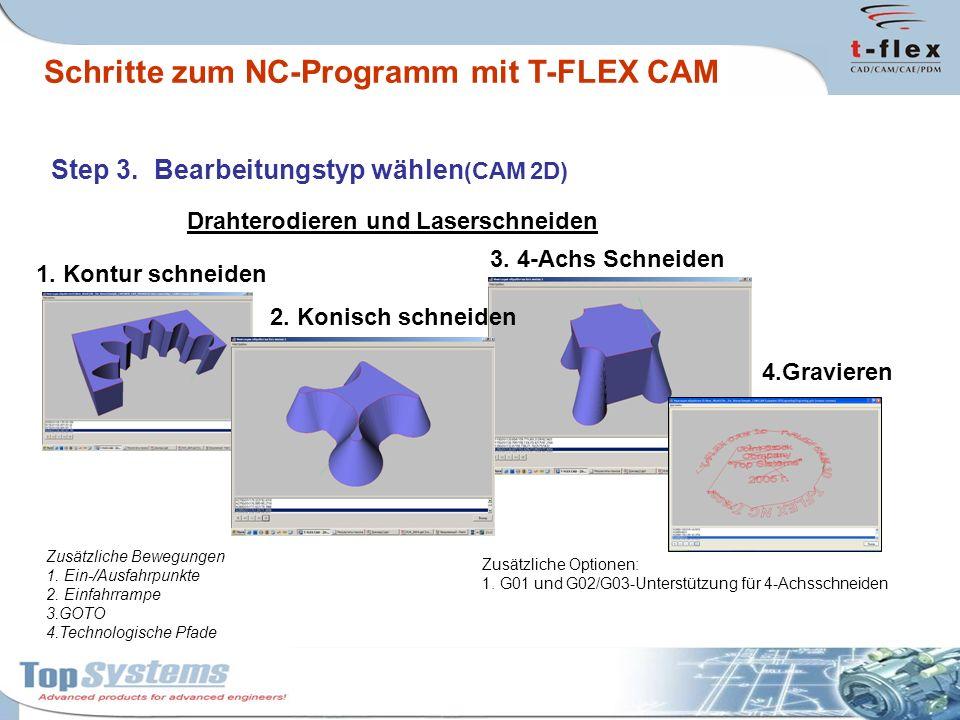 4.Gravieren Step 3. Bearbeitungstyp wählen (CAM 2D) Drahterodieren und Laserschneiden 1. Kontur schneiden 2. Konisch schneiden 3. 4-Achs Schneiden Zus