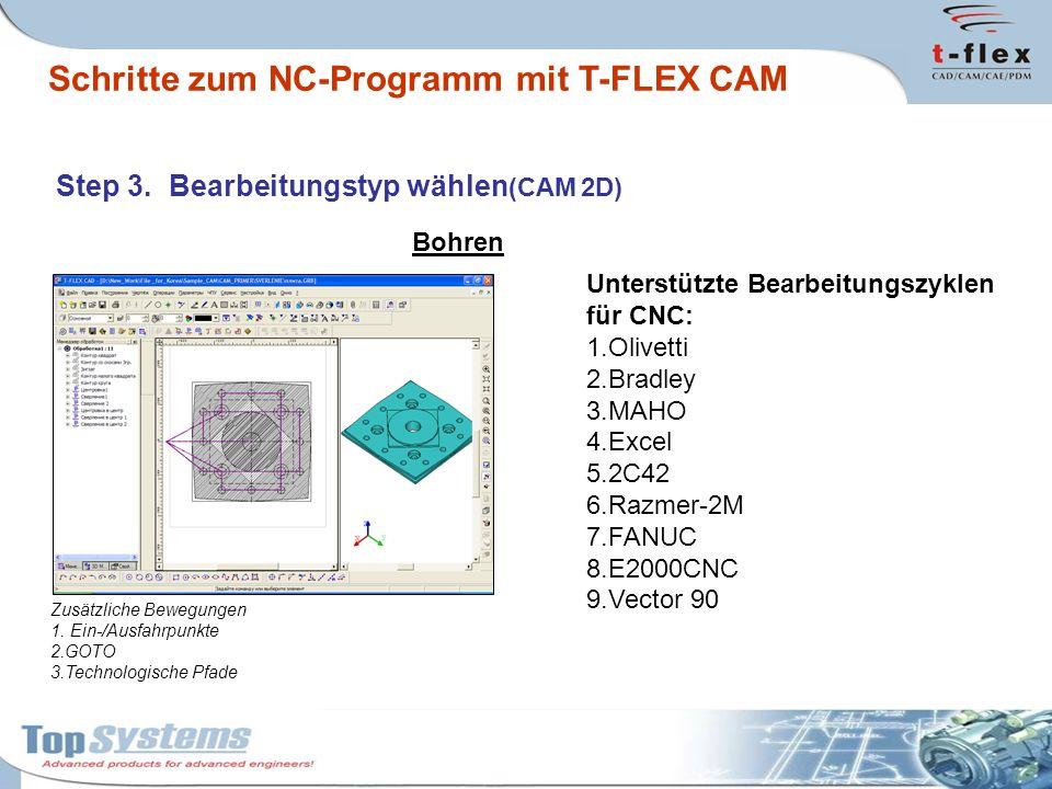 2,5D Fräsen und Gravieren Flächenfräsen Konturfräsen Taschenfräsen Schrauben- und Spiralfräsen Gravieren Frästypen : Schritte zum NC-Programm mit T-FLEX CAM Step 3.