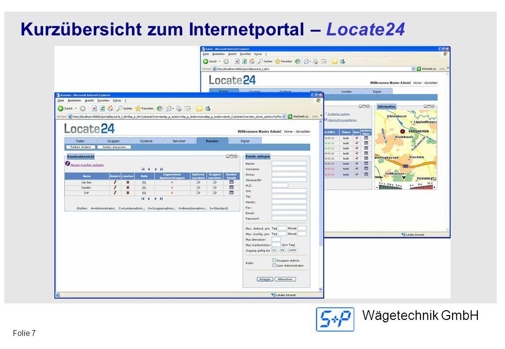 Folie 7 Wägetechnik GmbH Kurzübersicht zum Internetportal – Locate24