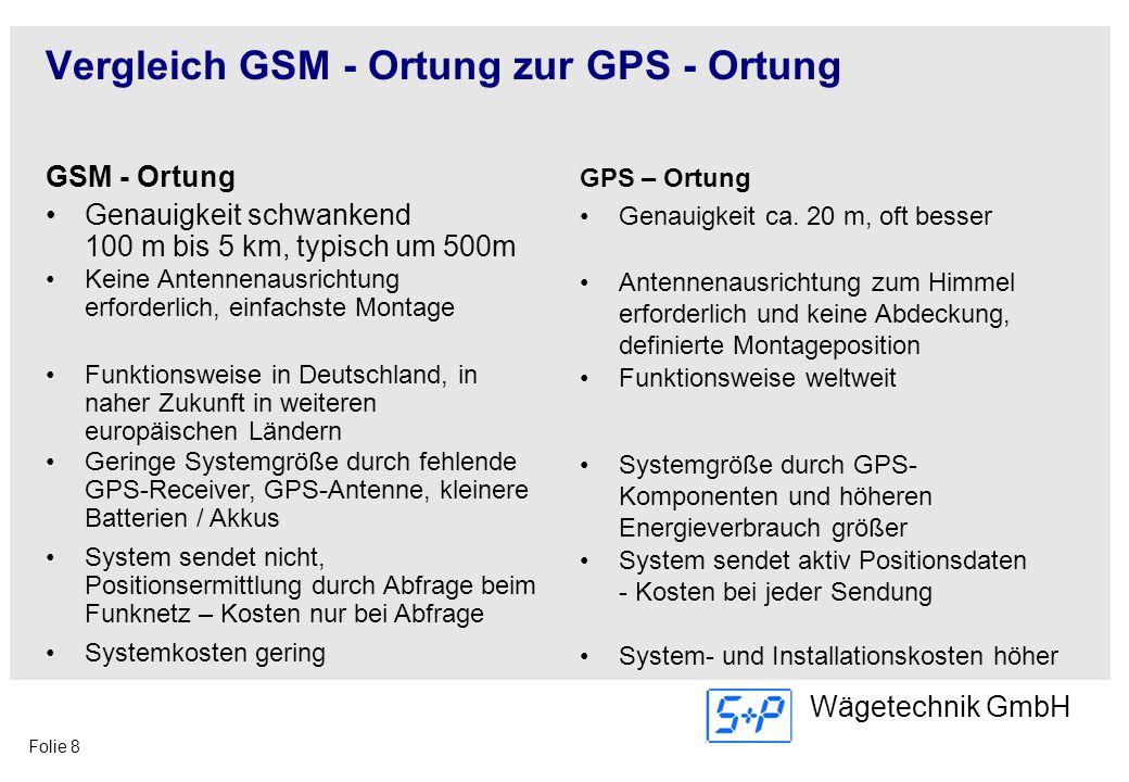 Folie 8 Wägetechnik GmbH Vergleich GSM - Ortung zur GPS - Ortung GSM - Ortung Genauigkeit schwankend 100 m bis 5 km, typisch um 500m GPS – Ortung Gena