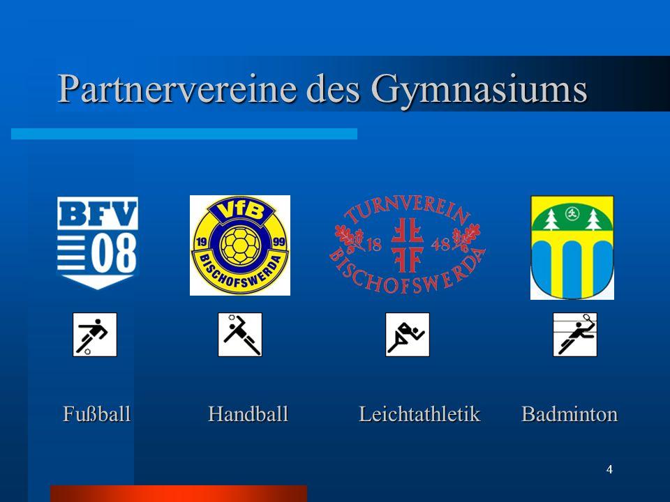 4 Partnervereine des Gymnasiums FußballHandball Leichtathletik Badminton