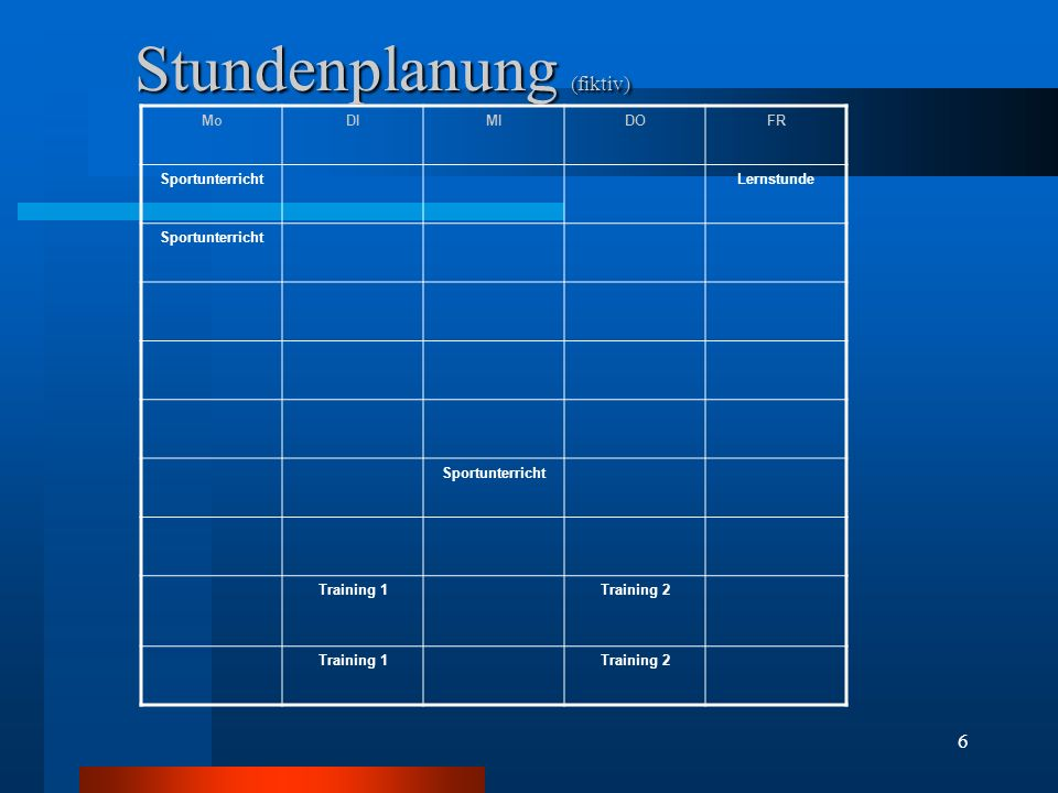 6 Stundenplanung (fiktiv) MoDIMIDOFR SportunterrichtLernstunde Sportunterricht Training 1Training 2 Training 1Training 2