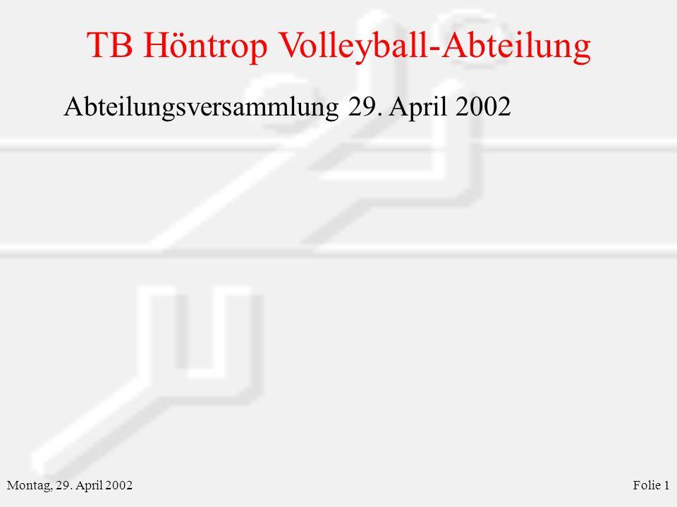 TB Höntrop Volleyball-Abteilung Montag, 29. April 2002Folie 1 Abteilungsversammlung 29. April 2002