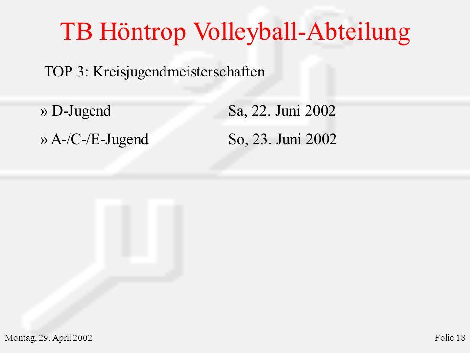 TB Höntrop Volleyball-Abteilung Montag, 29. April 2002Folie 18 » D-JugendSa, 22. Juni 2002 » A-/C-/E-JugendSo, 23. Juni 2002 TOP 3: Kreisjugendmeister