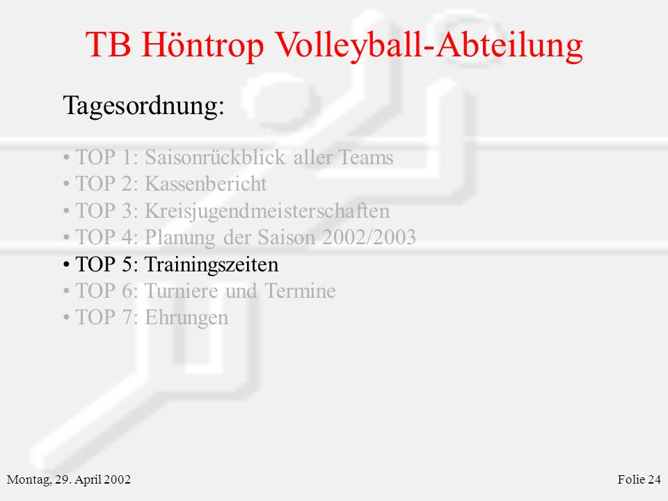 TB Höntrop Volleyball-Abteilung Montag, 29. April 2002Folie 24 Tagesordnung: TOP 1: Saisonrückblick aller Teams TOP 2: Kassenbericht TOP 3: Kreisjugen