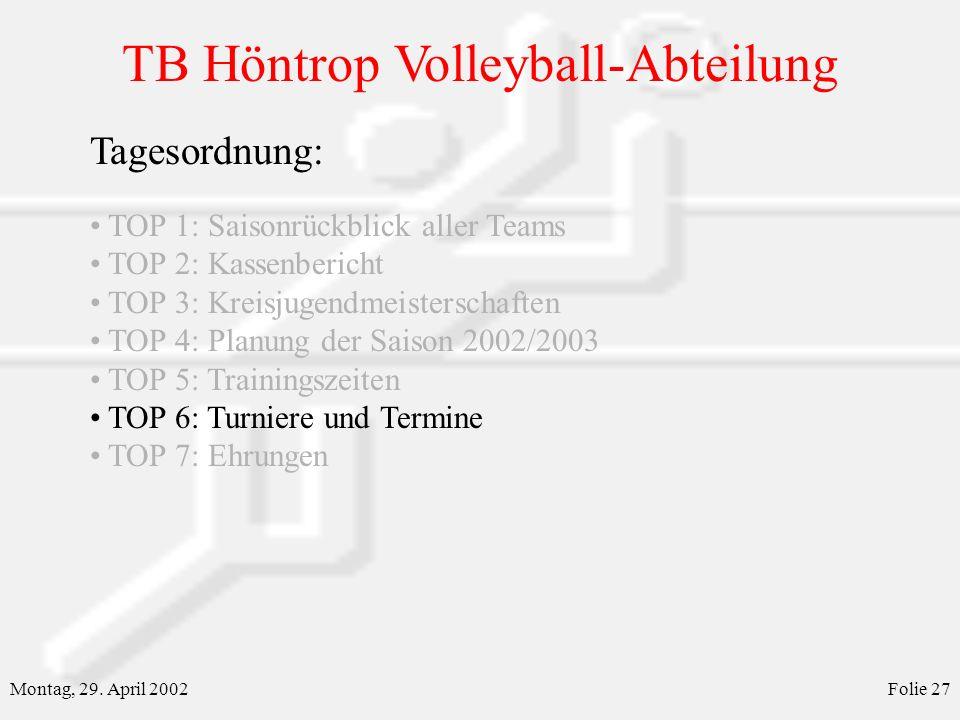 TB Höntrop Volleyball-Abteilung Montag, 29. April 2002Folie 27 Tagesordnung: TOP 1: Saisonrückblick aller Teams TOP 2: Kassenbericht TOP 3: Kreisjugen