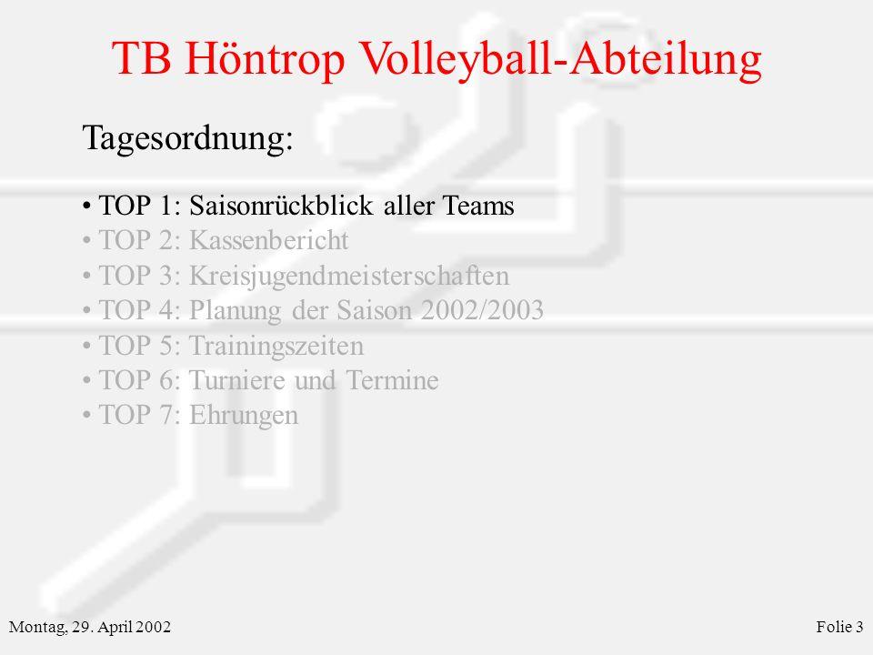 TB Höntrop Volleyball-Abteilung Montag, 29. April 2002Folie 3 Tagesordnung: TOP 1: Saisonrückblick aller Teams TOP 2: Kassenbericht TOP 3: Kreisjugend