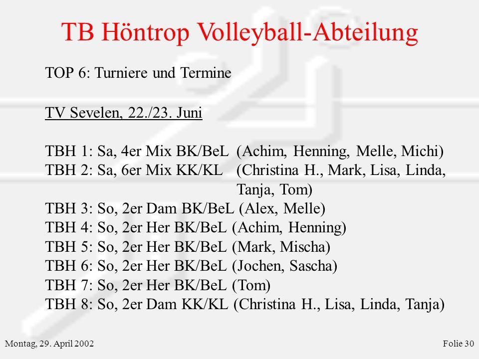 TB Höntrop Volleyball-Abteilung Montag, 29. April 2002Folie 30 TOP 6: Turniere und Termine TV Sevelen, 22./23. Juni TBH 1: Sa, 4er Mix BK/BeL(Achim, H