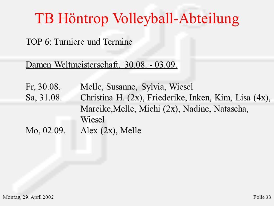 TB Höntrop Volleyball-Abteilung Montag, 29. April 2002Folie 33 TOP 6: Turniere und Termine Damen Weltmeisterschaft, 30.08. - 03.09. Fr, 30.08.Melle, S