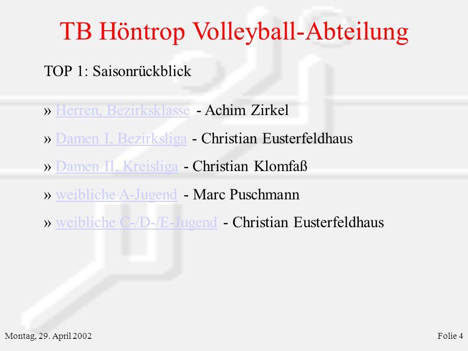 TB Höntrop Volleyball-Abteilung Montag, 29. April 2002Folie 4 » Herren, Bezirksklasse - Achim ZirkelHerren, Bezirksklasse » Damen I, Bezirksliga - Chr
