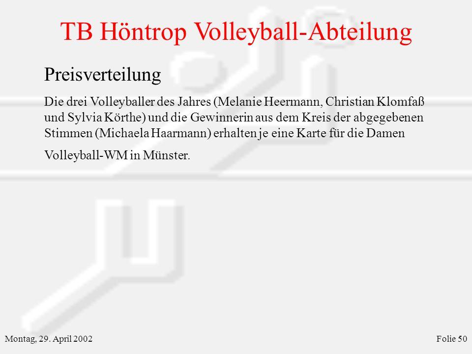 TB Höntrop Volleyball-Abteilung Montag, 29. April 2002Folie 50 Preisverteilung Die drei Volleyballer des Jahres (Melanie Heermann, Christian Klomfaß u