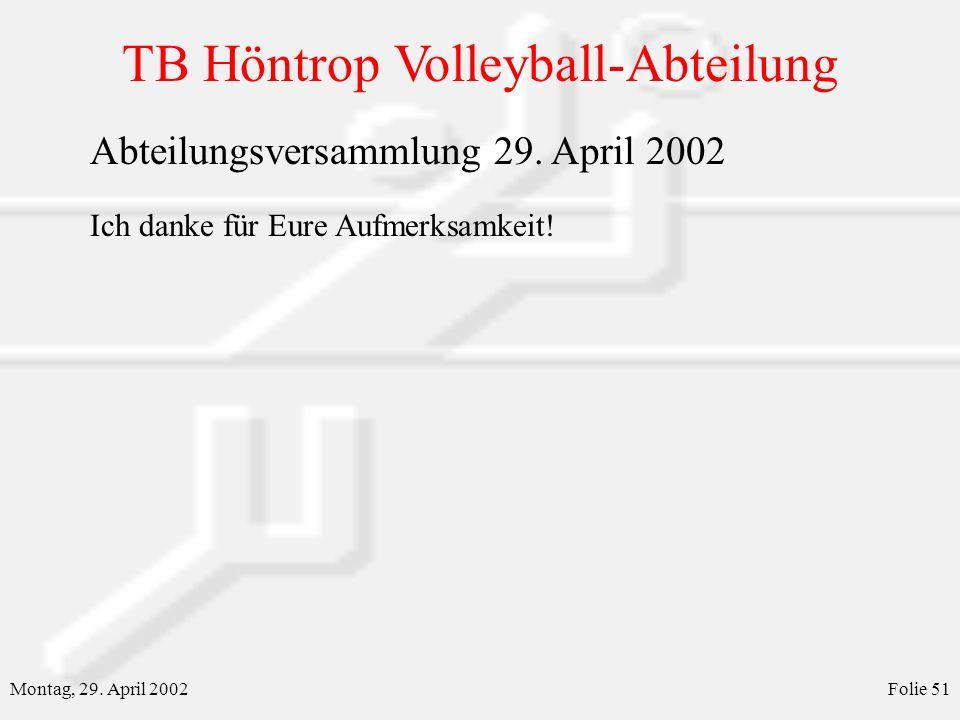 TB Höntrop Volleyball-Abteilung Montag, 29. April 2002Folie 51 Abteilungsversammlung 29. April 2002 Ich danke für Eure Aufmerksamkeit!