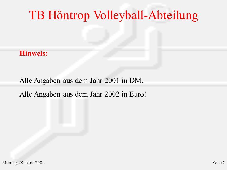 TB Höntrop Volleyball-Abteilung Montag, 29. April 2002Folie 7 Hinweis: Alle Angaben aus dem Jahr 2001 in DM. Alle Angaben aus dem Jahr 2002 in Euro!