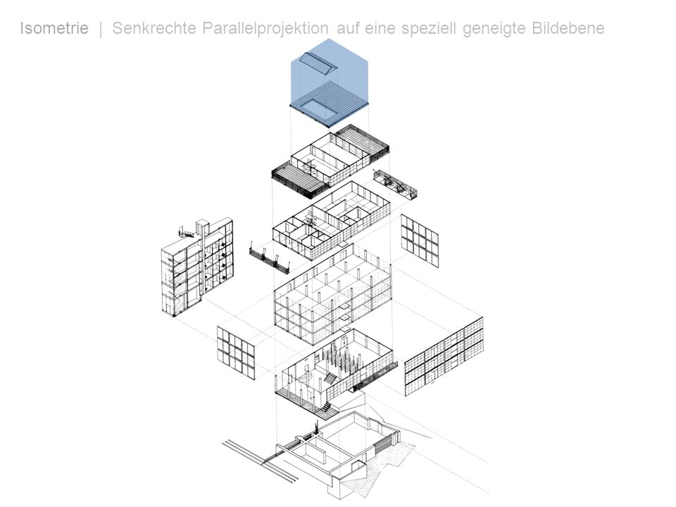 Isometrie | Senkrechte Parallelprojektion auf eine speziell geneigte Bildebene