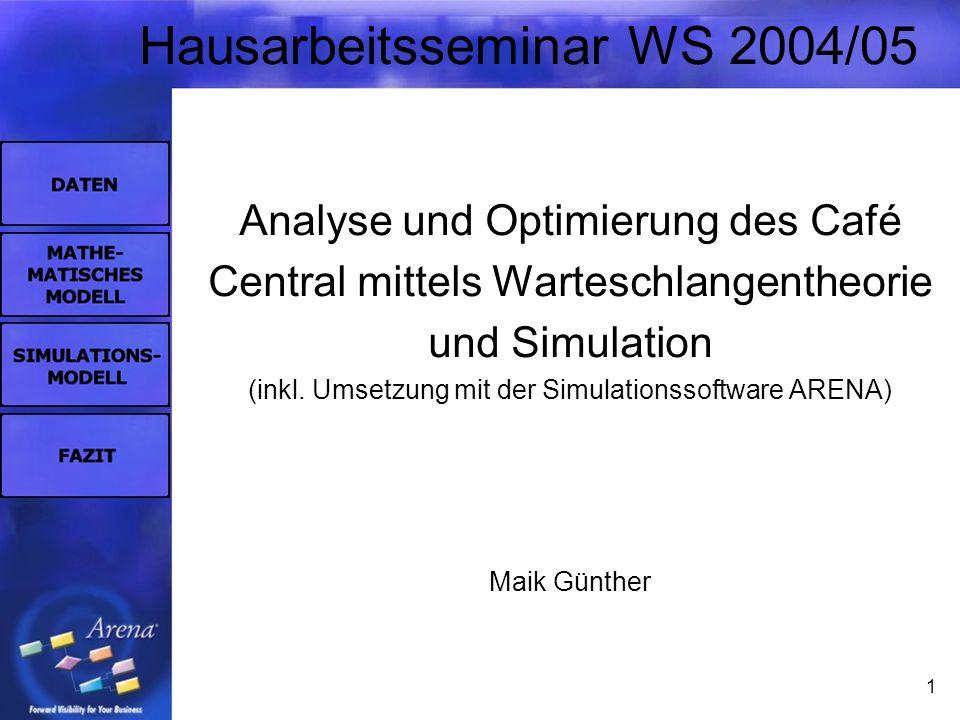 1 Hausarbeitsseminar WS 2004/05 Analyse und Optimierung des Café Central mittels Warteschlangentheorie und Simulation (inkl. Umsetzung mit der Simulat