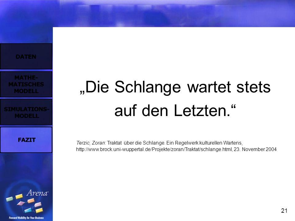 21 Die Schlange wartet stets auf den Letzten. Terzic, Zoran: Traktat über die Schlange. Ein Regelwerk kulturellen Wartens, http://www.brock.uni-wupper