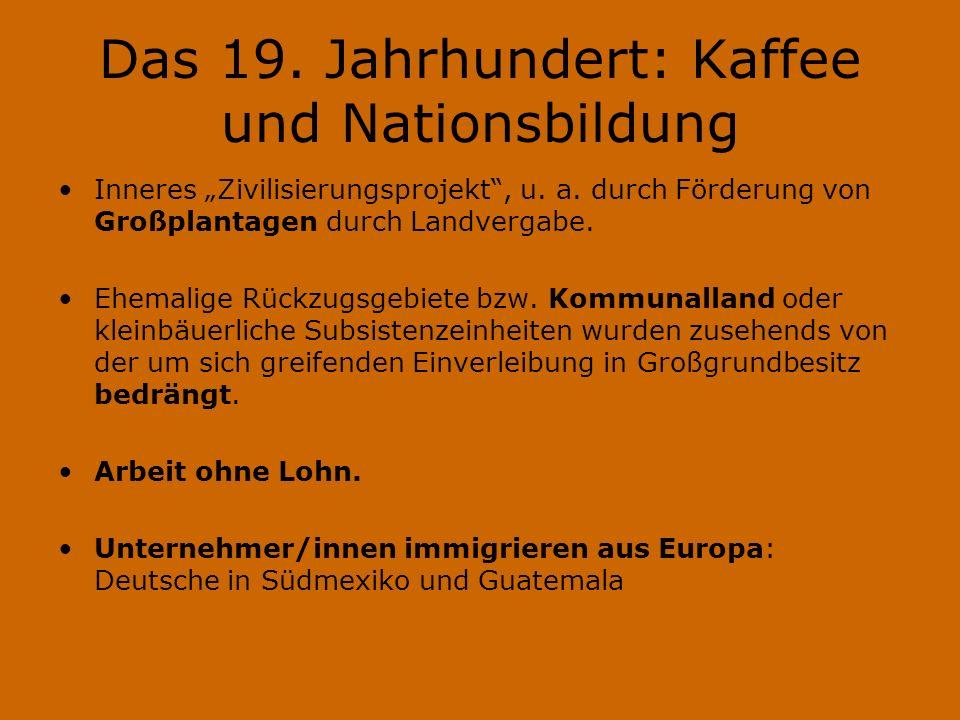 Das 19. Jahrhundert: Kaffee und Nationsbildung Inneres Zivilisierungsprojekt, u.