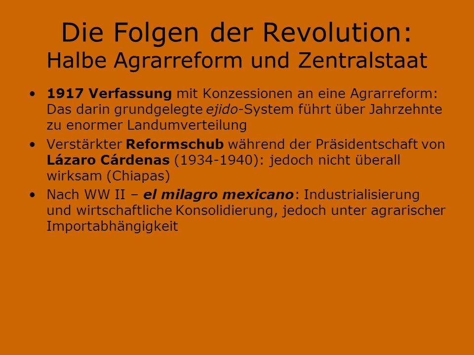 Die Folgen der Revolution: Halbe Agrarreform und Zentralstaat 1917 Verfassung mit Konzessionen an eine Agrarreform: Das darin grundgelegte ejido-Syste