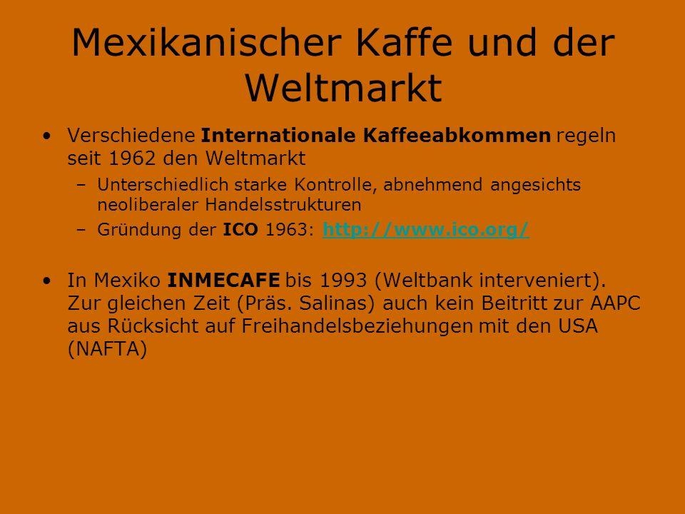 Mexikanischer Kaffe und der Weltmarkt Verschiedene Internationale Kaffeeabkommen regeln seit 1962 den Weltmarkt –Unterschiedlich starke Kontrolle, abnehmend angesichts neoliberaler Handelsstrukturen –Gründung der ICO 1963: http://www.ico.org/http://www.ico.org/ In Mexiko INMECAFE bis 1993 (Weltbank interveniert).