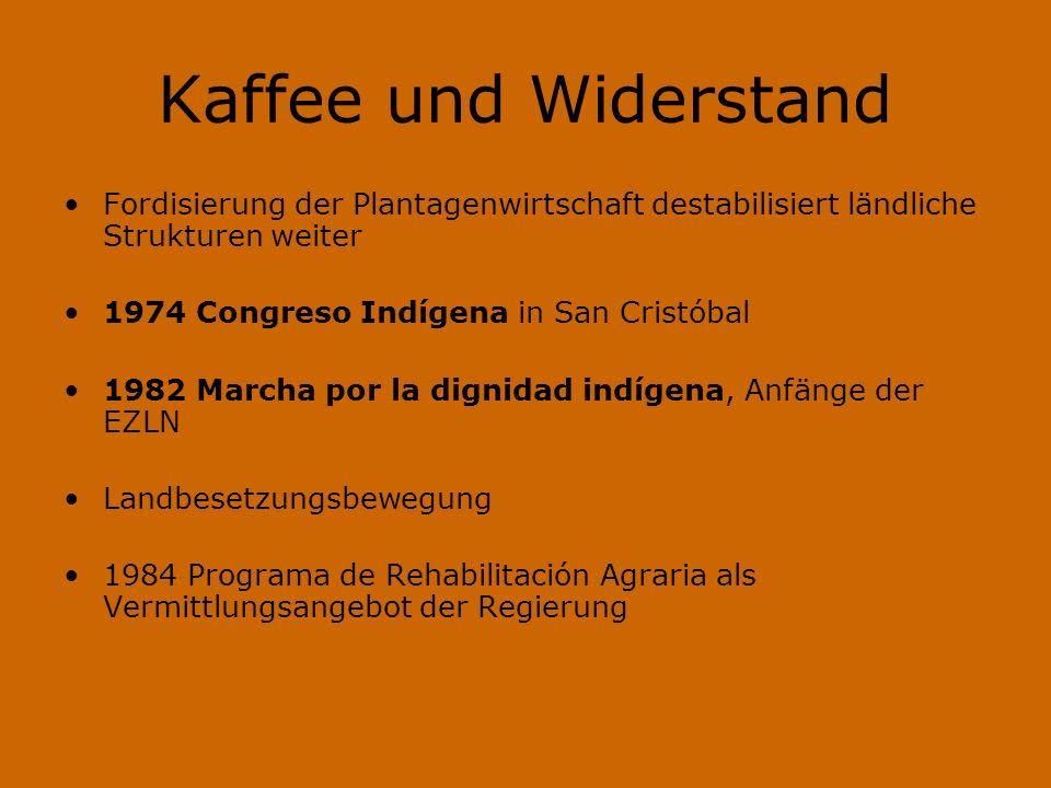 Kaffee und Widerstand Fordisierung der Plantagenwirtschaft destabilisiert ländliche Strukturen weiter 1974 Congreso Indígena in San Cristóbal 1982 Mar