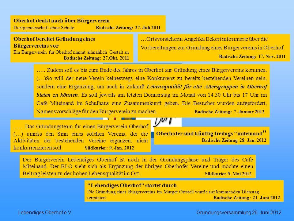 Lebendiges Oberhof e.V. Gründungsversammlung 26. Juni 2012 ….. Zudem soll es bis zum Ende des Jahres in Oberhof zur Gründung eines Bürgervereins komme