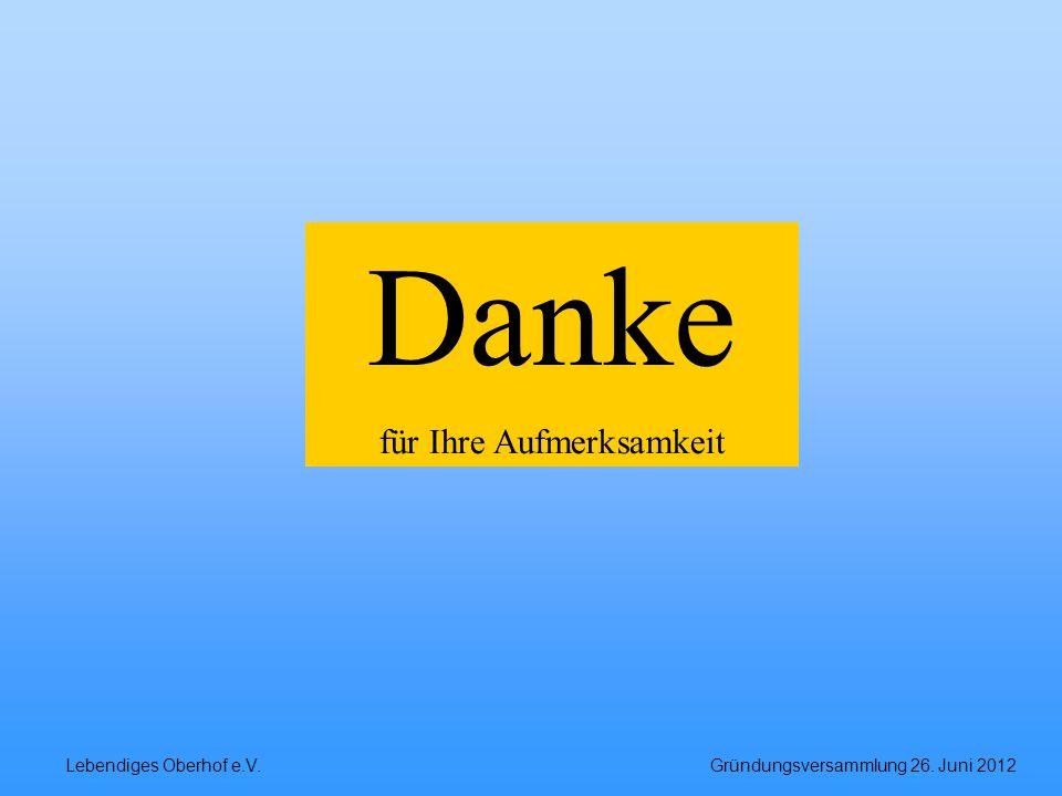Lebendiges Oberhof e.V. Gründungsversammlung 26. Juni 2012 Danke für Ihre Aufmerksamkeit